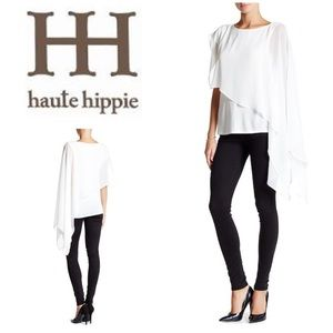 New Haute Hippie Woven Asymmetric Overlay Blouse